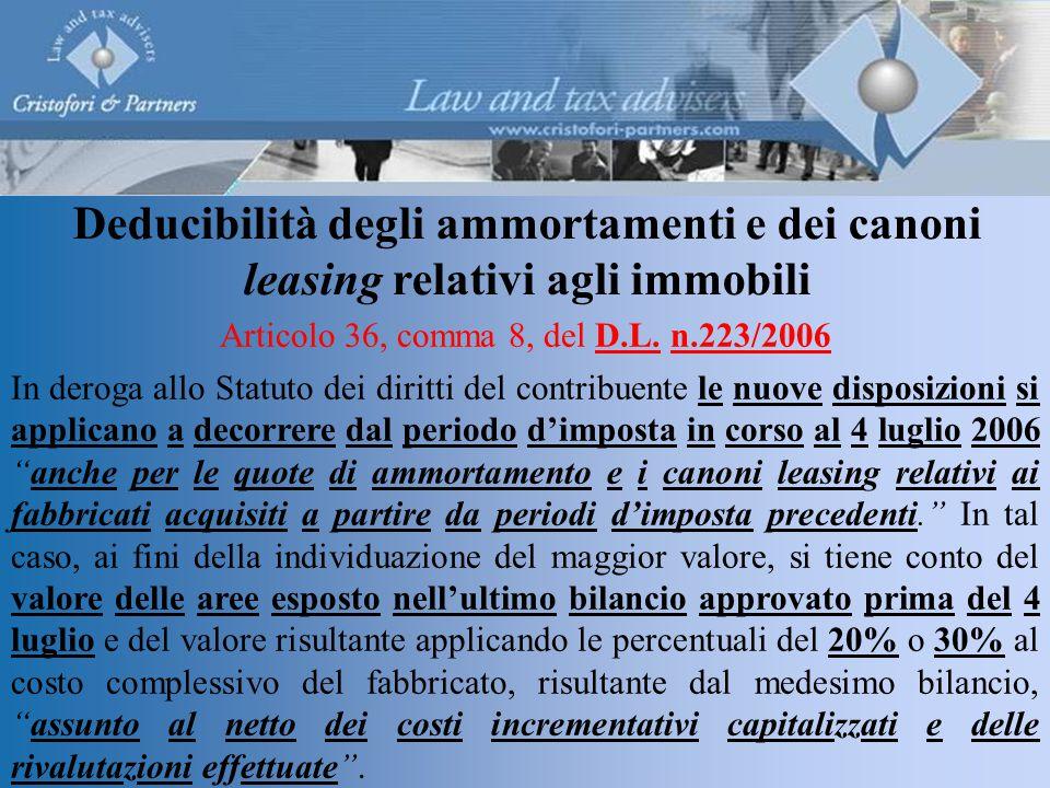 Deducibilità degli ammortamenti e dei canoni leasing relativi agli immobili Articolo 36, comma 8, del D.L.