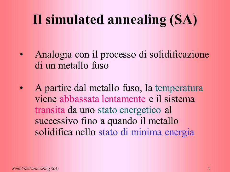 1 Il simulated annealing (SA) Analogia con il processo di solidificazione di un metallo fuso A partire dal metallo fuso, la temperatura viene abbassata lentamente e il sistema transita da uno stato energetico al successivo fino a quando il metallo solidifica nello stato di minima energia Simulated annealing (SA)