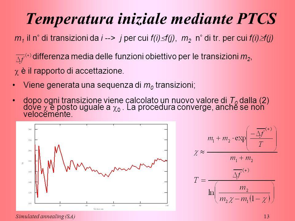 13 Temperatura iniziale mediante PTCS m 1 il n° di transizioni da i --> j per cui f(i)  f(j), m 2 n° di tr. per cui f(i)  f(j) differenza media dell
