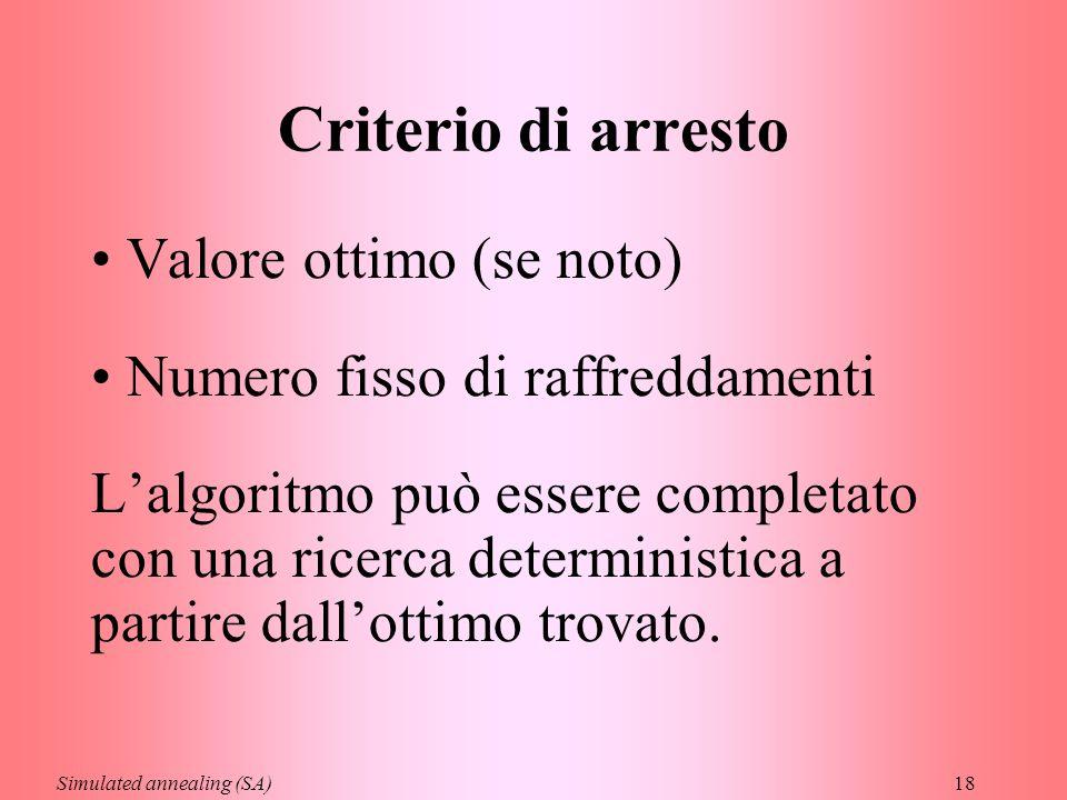 18 Criterio di arresto Valore ottimo (se noto) Numero fisso di raffreddamenti L'algoritmo può essere completato con una ricerca deterministica a partire dall'ottimo trovato.