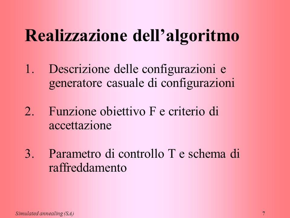 7 Realizzazione dell'algoritmo 1.Descrizione delle configurazioni e generatore casuale di configurazioni 2.Funzione obiettivo F e criterio di accettaz