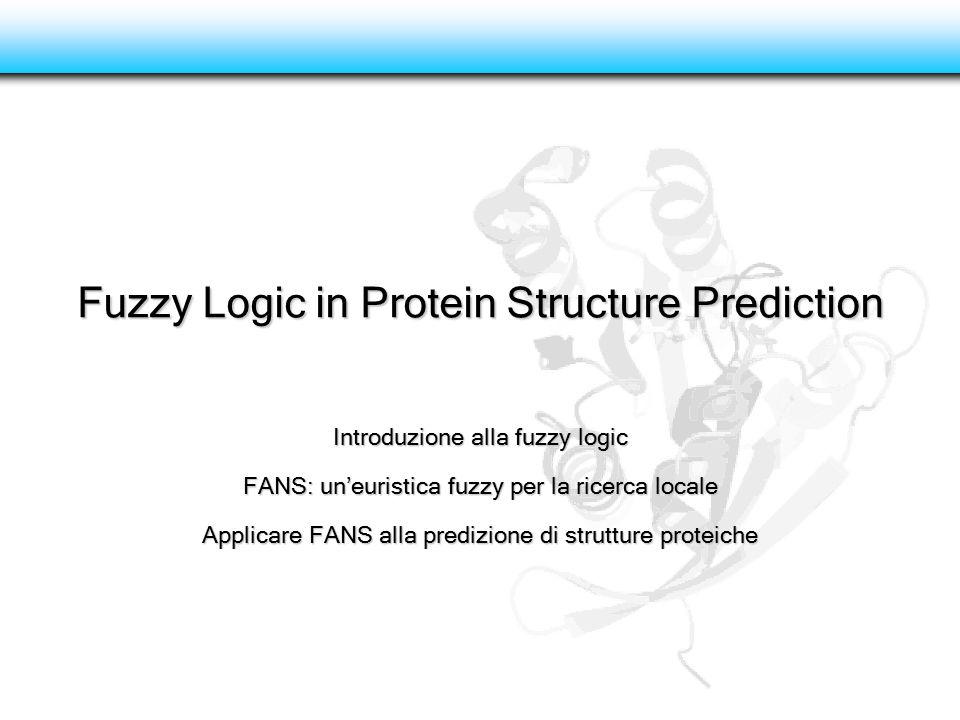 Fuzzy Logic in Protein Structure Prediction Introduzione alla fuzzy logic FANS: un'euristica fuzzy per la ricerca locale Applicare FANS alla predizion