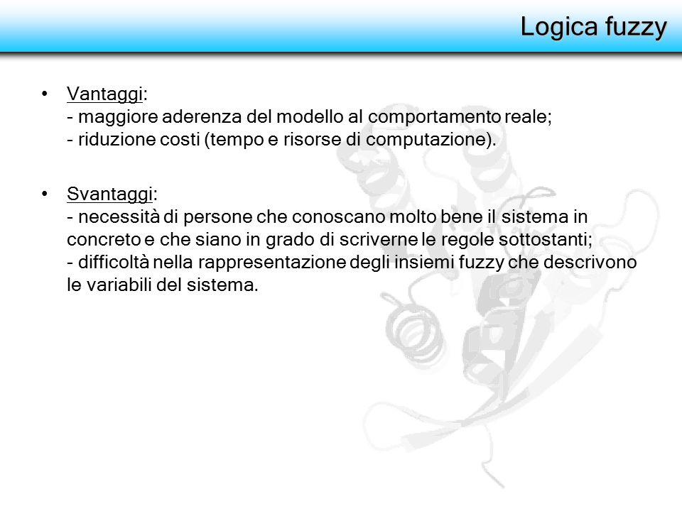 Logica fuzzy Vantaggi: - maggiore aderenza del modello al comportamento reale; - riduzione costi (tempo e risorse di computazione). Svantaggi: - neces
