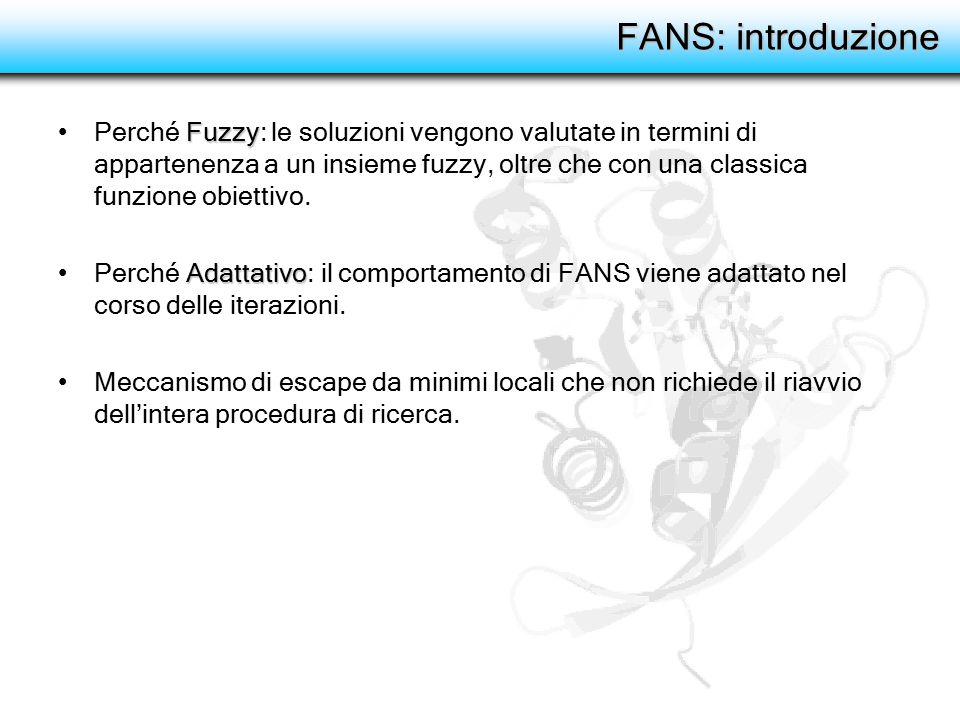 FANS: introduzione FuzzyPerché Fuzzy: le soluzioni vengono valutate in termini di appartenenza a un insieme fuzzy, oltre che con una classica funzione