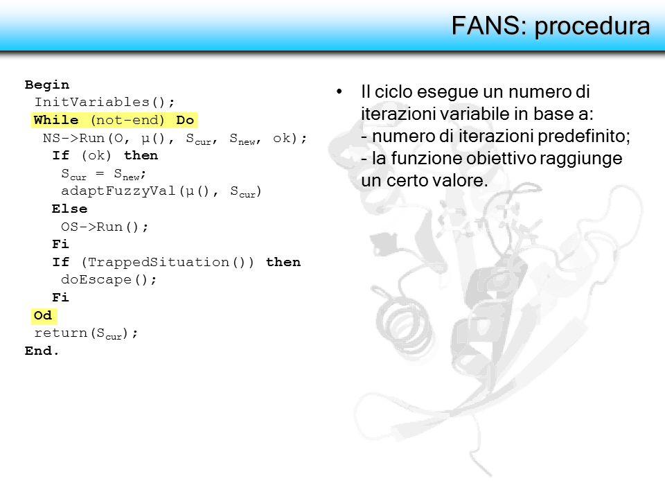 FANS: procedura Il ciclo esegue un numero di iterazioni variabile in base a: - numero di iterazioni predefinito; - la funzione obiettivo raggiunge un