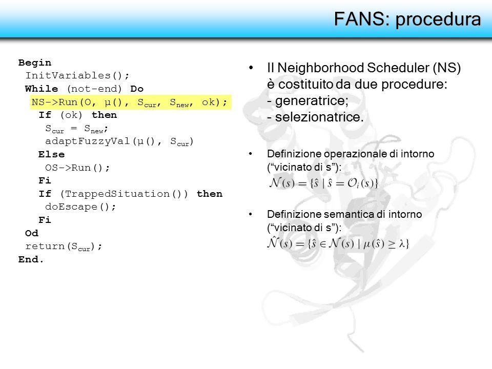 """FANS: procedura Il Neighborhood Scheduler (NS) è costituito da due procedure: - generatrice; - selezionatrice. Definizione operazionale di intorno (""""v"""