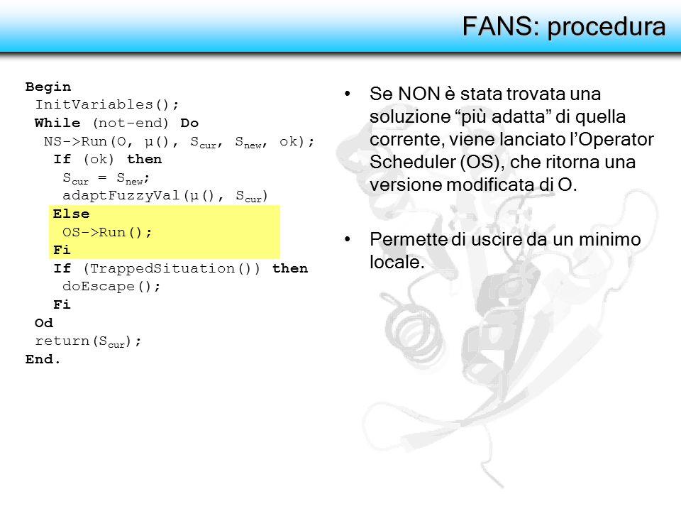"""FANS: procedura Se NON è stata trovata una soluzione """"più adatta"""" di quella corrente, viene lanciato l'Operator Scheduler (OS), che ritorna una versio"""