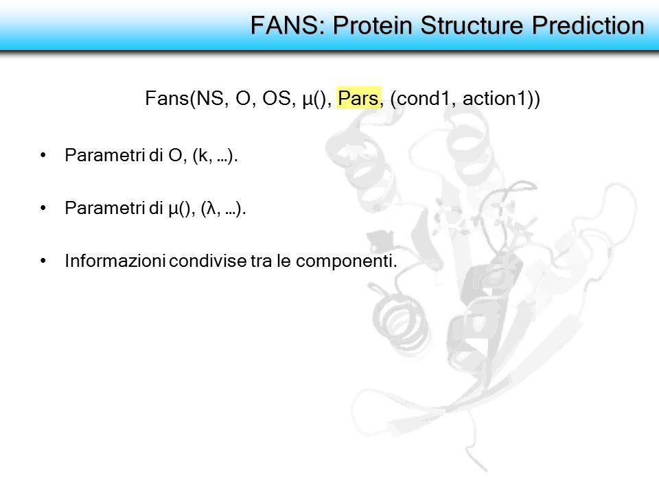 FANS: Protein Structure Prediction Parametri di O, (k, …). Parametri di μ(), (λ, …). Informazioni condivise tra le componenti. Fans(NS, O, OS, μ(), Pa