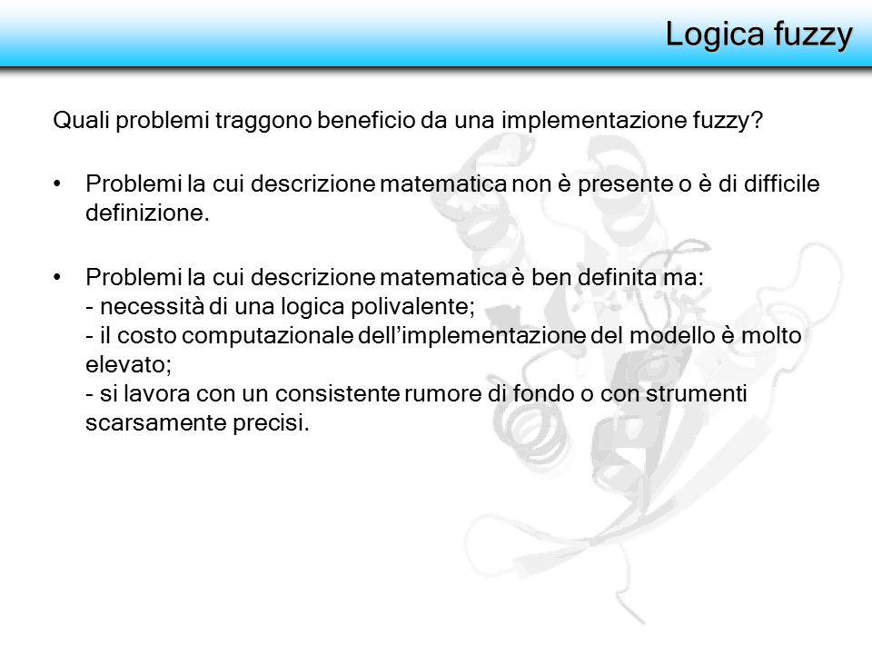 Logica fuzzy Vantaggi: - maggiore aderenza del modello al comportamento reale; - riduzione costi (tempo e risorse di computazione).
