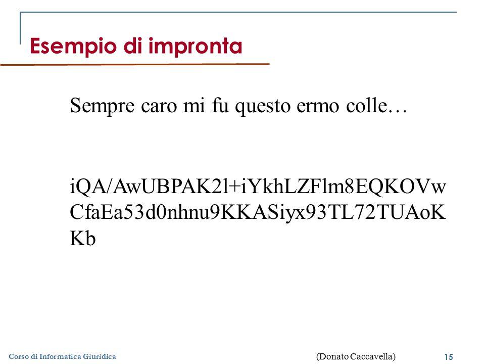 16 © Palmirani Corso di Informatica Giuridica Esempio di codifica asimmetrica Testo in chiaroTesto codificatoTesto in chiaro Chiave privataChiave pubblica (Donato Caccavella)