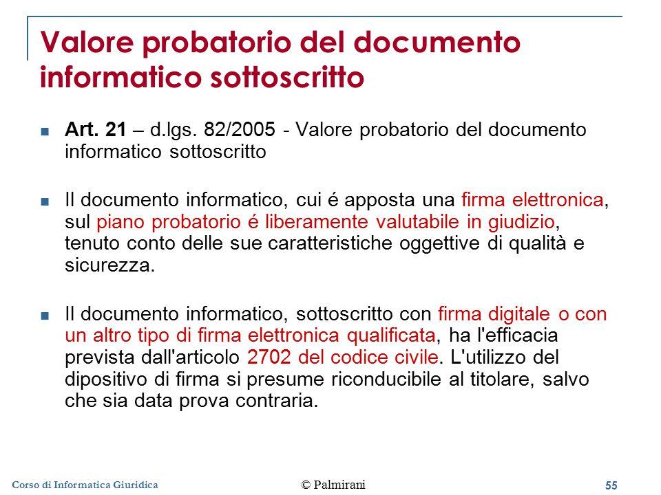 56 © Palmirani Corso di Informatica Giuridica Scrittura privata Art.