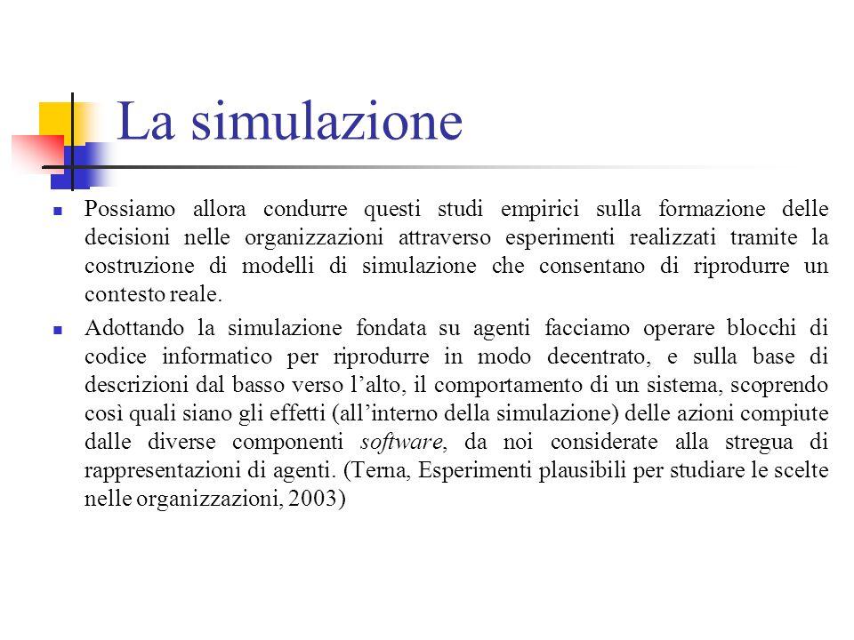 La simulazione Possiamo allora condurre questi studi empirici sulla formazione delle decisioni nelle organizzazioni attraverso esperimenti realizzati tramite la costruzione di modelli di simulazione che consentano di riprodurre un contesto reale.