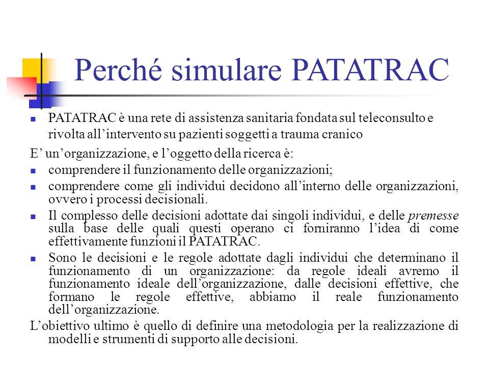 Perché simulare PATATRAC PATATRAC è una rete di assistenza sanitaria fondata sul teleconsulto e rivolta all'intervento su pazienti soggetti a trauma cranico E' un'organizzazione, e l'oggetto della ricerca è: comprendere il funzionamento delle organizzazioni; comprendere come gli individui decidono all'interno delle organizzazioni, ovvero i processi decisionali.