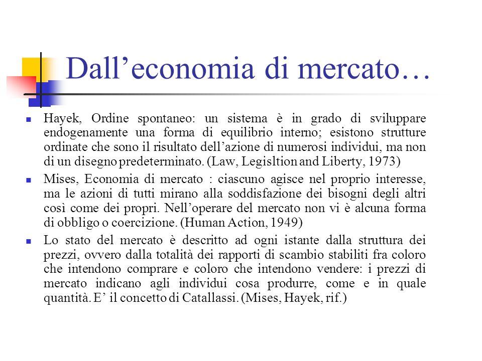 Dall'economia di mercato… Hayek, Ordine spontaneo: un sistema è in grado di sviluppare endogenamente una forma di equilibrio interno; esistono strutture ordinate che sono il risultato dell'azione di numerosi individui, ma non di un disegno predeterminato.