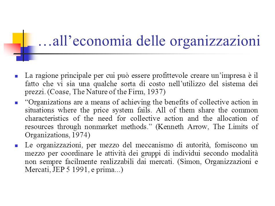…all'economia delle organizzazioni La ragione principale per cui può essere profittevole creare un'impresa è il fatto che vi sia una qualche sorta di costo nell'utilizzo del sistema dei prezzi.