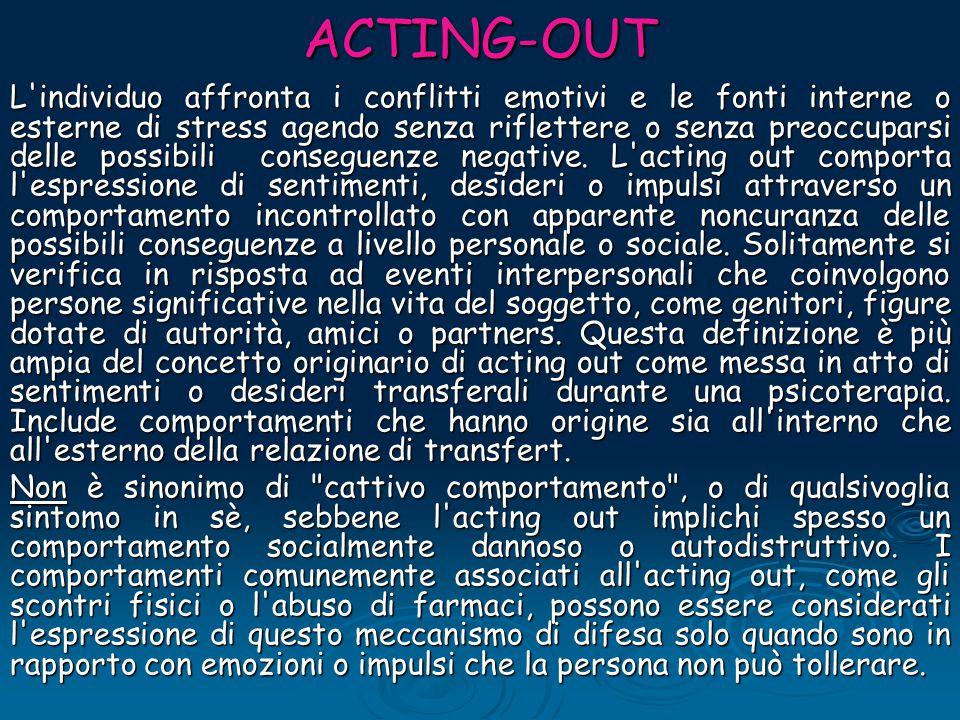 ACTING-OUT L'individuo affronta i conflitti emotivi e le fonti interne o esterne di stress agendo senza riflettere o senza preoccuparsi delle possibil