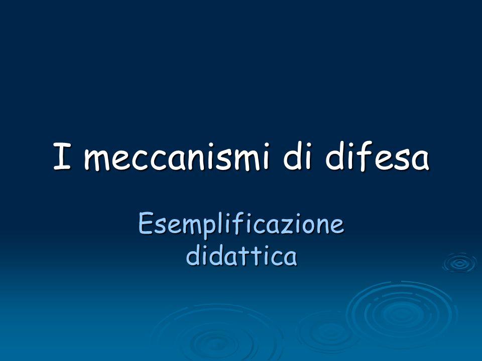 I meccanismi di difesa Esemplificazione didattica