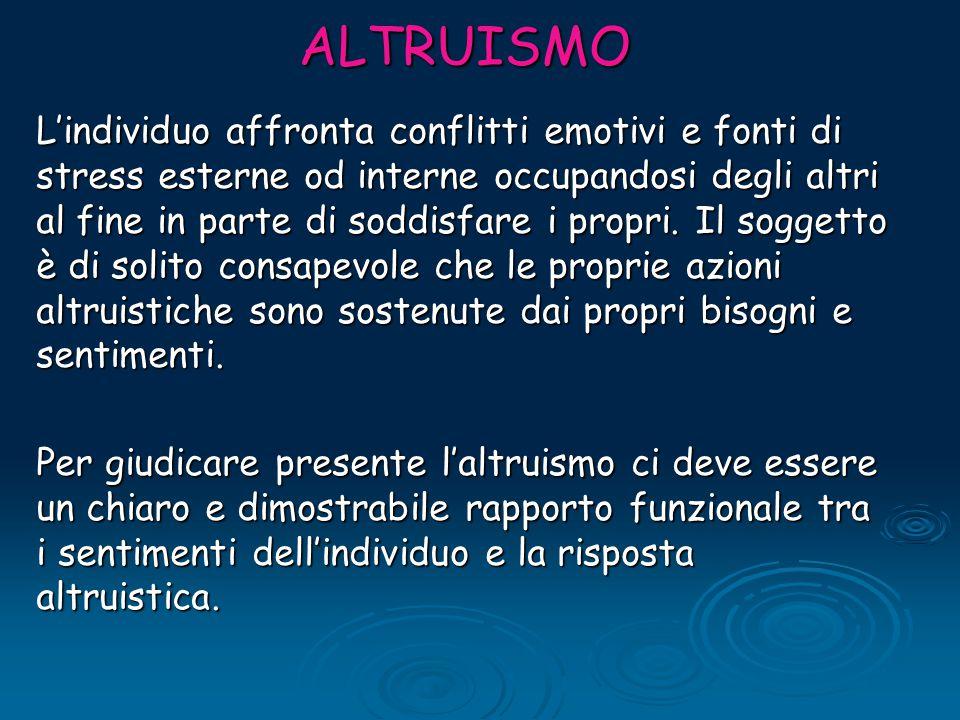 ALTRUISMO L'individuo affronta conflitti emotivi e fonti di stress esterne od interne occupandosi degli altri al fine in parte di soddisfare i propri.