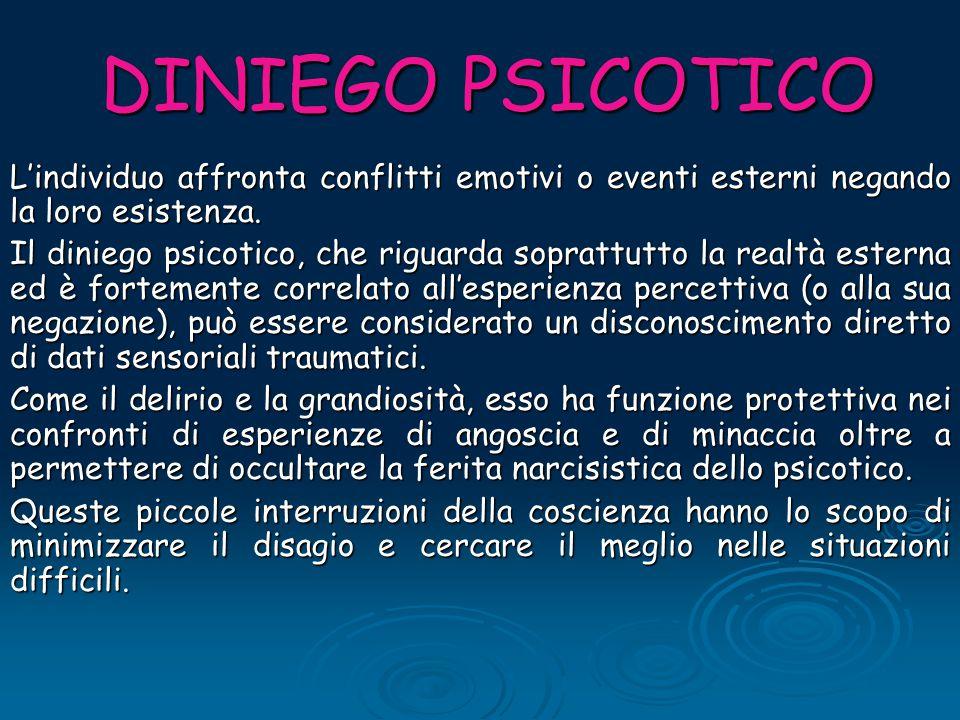 DINIEGO PSICOTICO L'individuo affronta conflitti emotivi o eventi esterni negando la loro esistenza. Il diniego psicotico, che riguarda soprattutto la