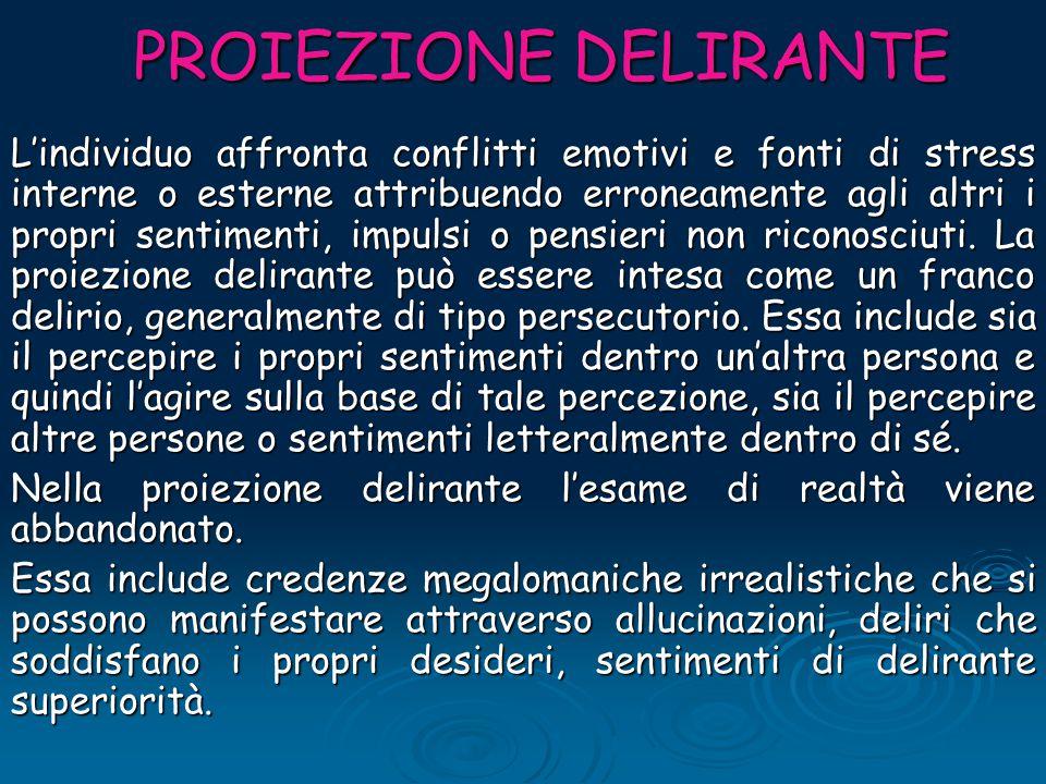 PROIEZIONE DELIRANTE PROIEZIONE DELIRANTE L'individuo affronta conflitti emotivi e fonti di stress interne o esterne attribuendo erroneamente agli alt