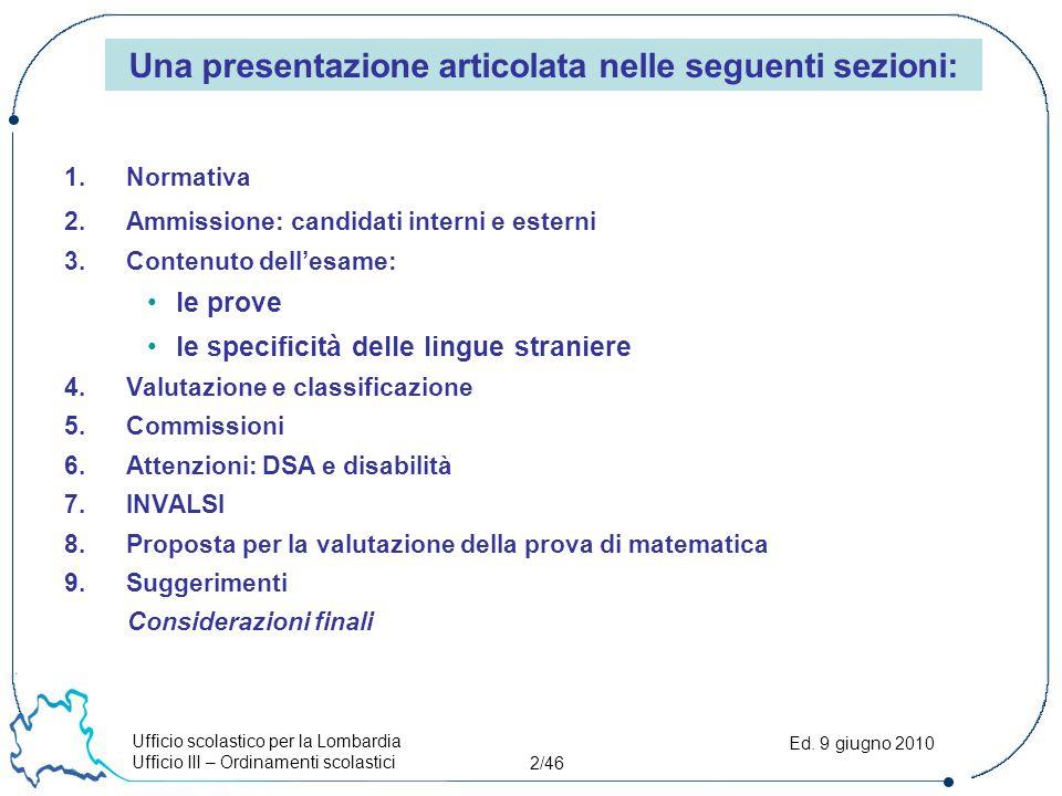 Ufficio scolastico per la Lombardia Ufficio III – Ordinamenti scolastici 2/46 Ed. 9 giugno 2010 1.Normativa 2.Ammissione: candidati interni e esterni