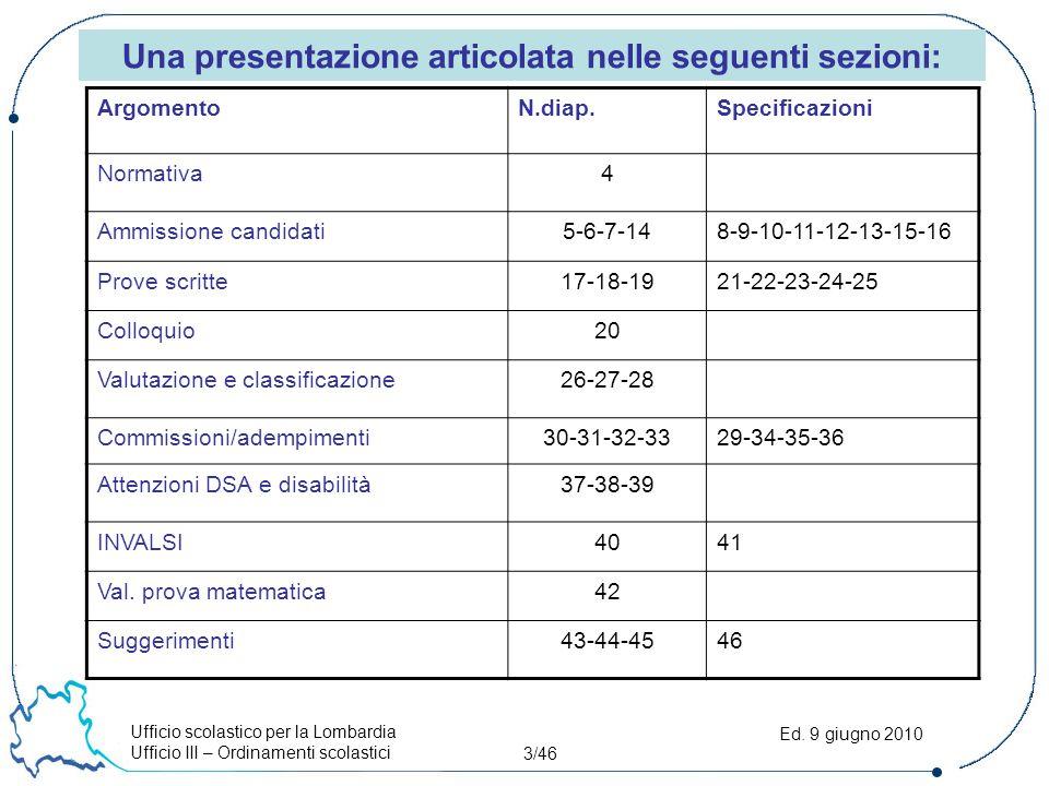 Ufficio scolastico per la Lombardia Ufficio III – Ordinamenti scolastici 3/46 Ed. 9 giugno 2010 Una presentazione articolata nelle seguenti sezioni: A