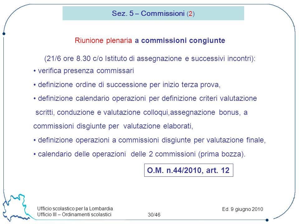 Ufficio scolastico per la Lombardia Ufficio III – Ordinamenti scolastici 30/46 Ed. 9 giugno 2010 Sez. 5 – Commissioni (2) O.M. n.44/2010, art. 12 Riun
