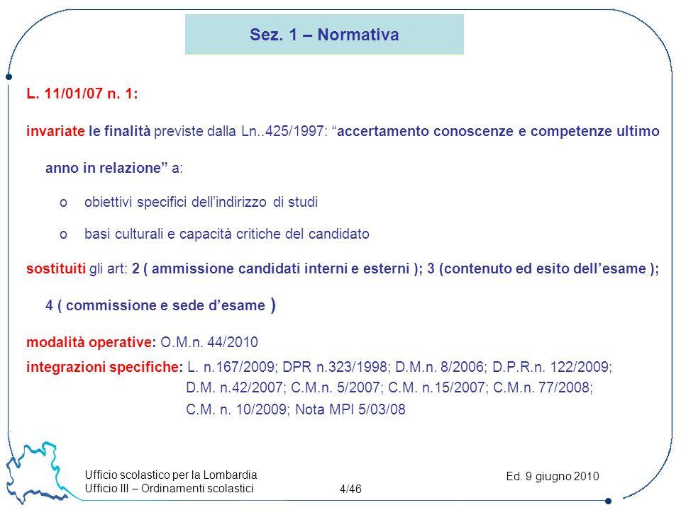 Ufficio scolastico per la Lombardia Ufficio III – Ordinamenti scolastici 4/46 Ed. 9 giugno 2010 Sez. 1 – Normativa L. 11/01/07 n. 1: invariate le fina
