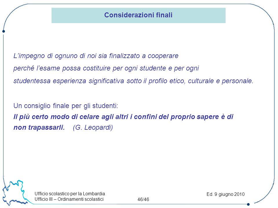 Ufficio scolastico per la Lombardia Ufficio III – Ordinamenti scolastici 46/46 Ed. 9 giugno 2010 L'impegno di ognuno di noi sia finalizzato a cooperar