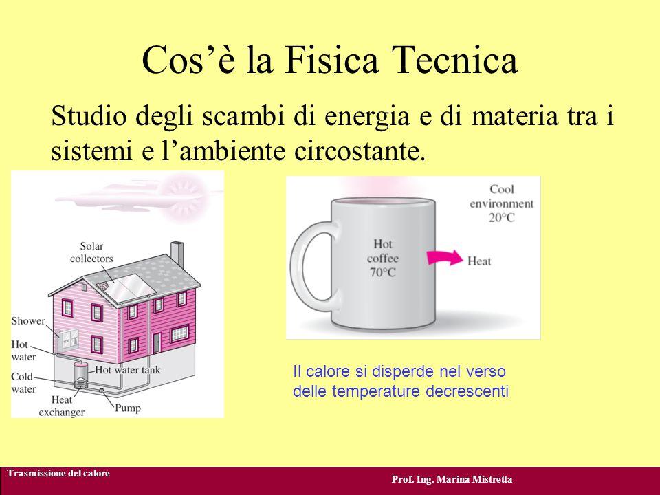 Cos'è la Fisica Tecnica Trasmissione del calore Prof. Ing. Marina Mistretta Studio degli scambi di energia e di materia tra i sistemi e l'ambiente cir