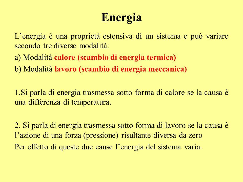 Energia L'energia è una proprietà estensiva di un sistema e può variare secondo tre diverse modalità: a) Modalità calore (scambio di energia termica)