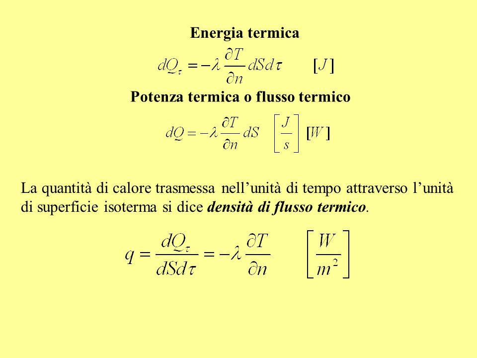 Energia termica La quantità di calore trasmessa nell'unità di tempo attraverso l'unità di superficie isoterma si dice densità di flusso termico. le es