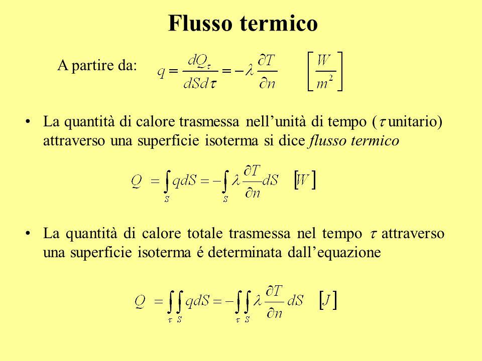 Flusso termico La quantità di calore trasmessa nell'unità di tempo (  unitario) attraverso una superficie isoterma si dice flusso termico La quantit