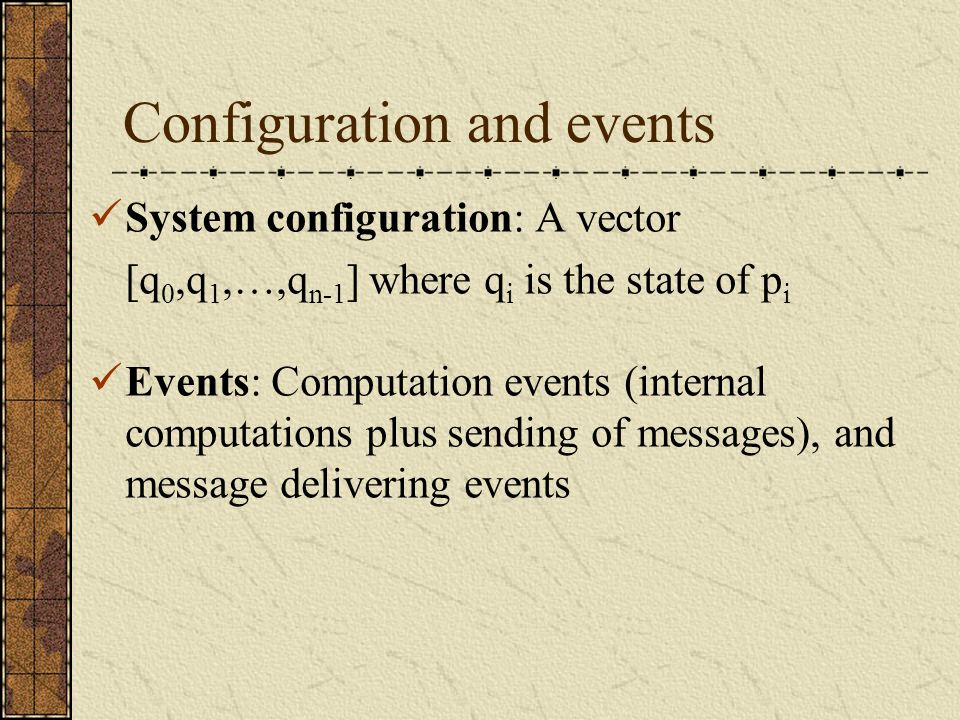 Execution C 0  1 C 1  2 C 2  3 … where C i : A configuration  i : An event C 0 : An initial configuration
