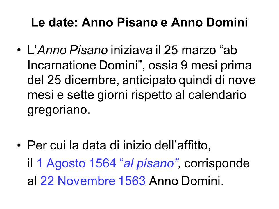 Le date: Anno Pisano e Anno Domini L'Anno Pisano iniziava il 25 marzo ab Incarnatione Domini , ossia 9 mesi prima del 25 dicembre, anticipato quindi di nove mesi e sette giorni rispetto al calendario gregoriano.