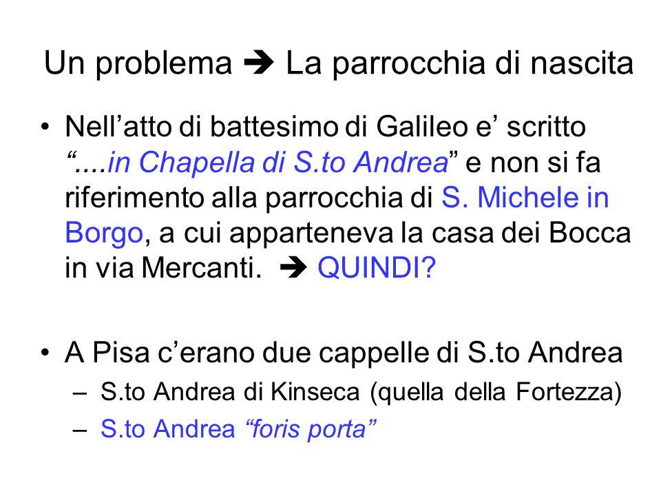 Un problema  La parrocchia di nascita Nell'atto di battesimo di Galileo e' scritto ....in Chapella di S.to Andrea e non si fa riferimento alla parrocchia di S.