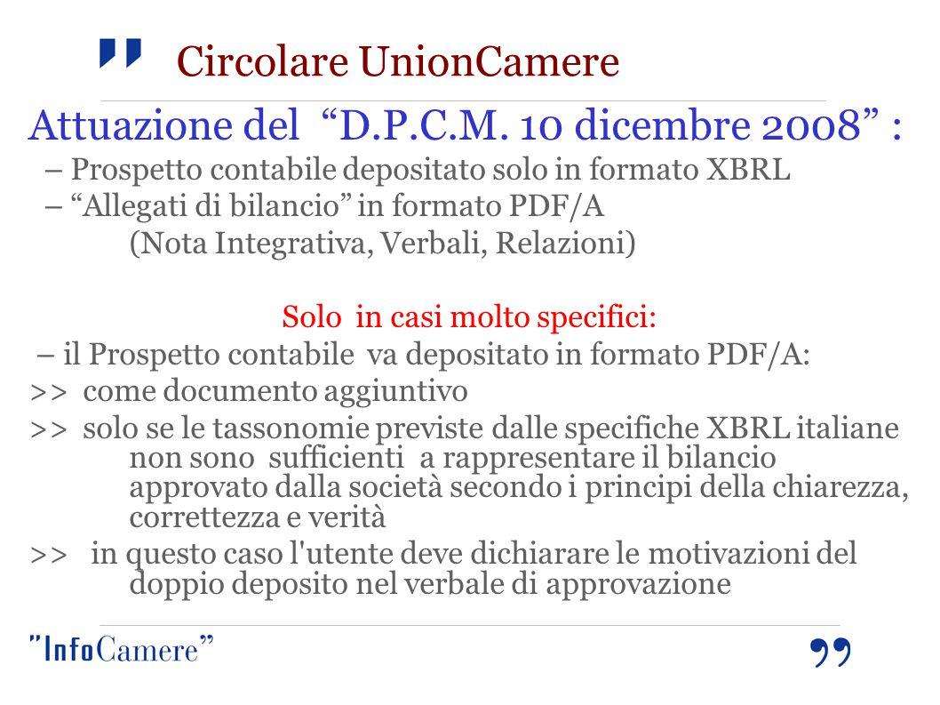 """Attuazione del """"D.P.C.M. 10 dicembre 2008"""" : – Prospetto contabile depositato solo in formato XBRL – """"Allegati di bilancio"""" in formato PDF/A (Nota Int"""