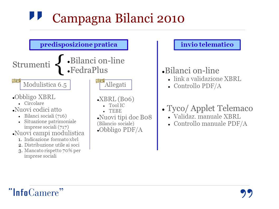 predisposizione praticainvio telematico Bilanci on-line FedraPlus Bilanci on-line link a validazione XBRL Controllo PDF/A Tyco/ Applet Telemaco Valida