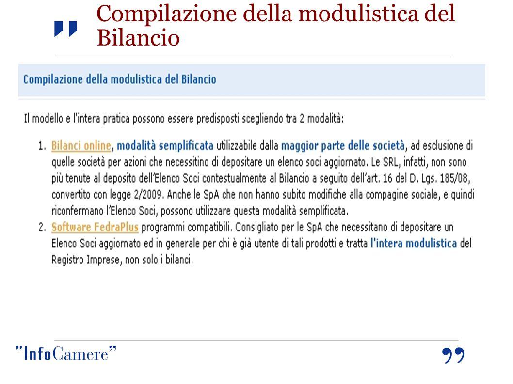 Compilazione della modulistica del Bilancio