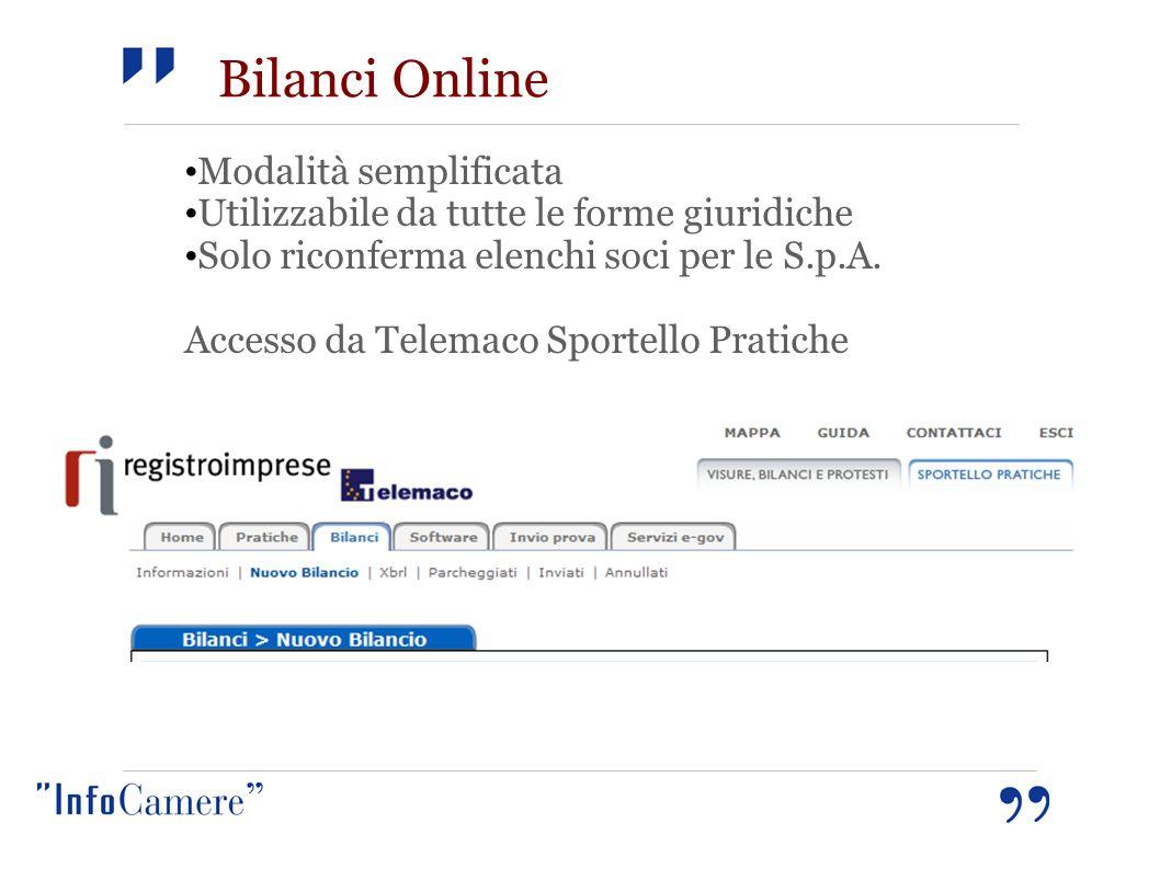 Bilanci Online Modalità semplificata Utilizzabile da tutte le forme giuridiche Solo riconferma elenchi soci per le S.p.A. Accesso da Telemaco Sportell