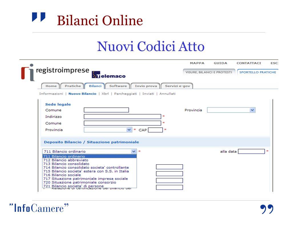 Bilanci Online Nuovi Codici Atto