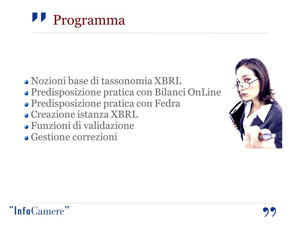 Nozioni base di tassonomia XBRL Predisposizione pratica con Bilanci OnLine Predisposizione pratica con Fedra Creazione istanza XBRL Funzioni di validazione Gestione correzioni Programma