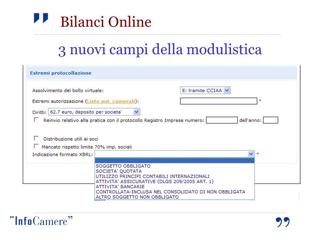 3 nuovi campi della modulistica Bilanci Online