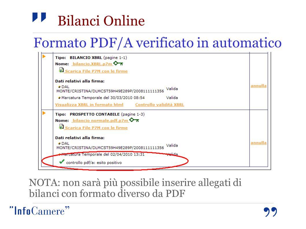 Formato PDF/A verificato in automatico NOTA: non sarà più possibile inserire allegati di bilanci con formato diverso da PDF Bilanci Online