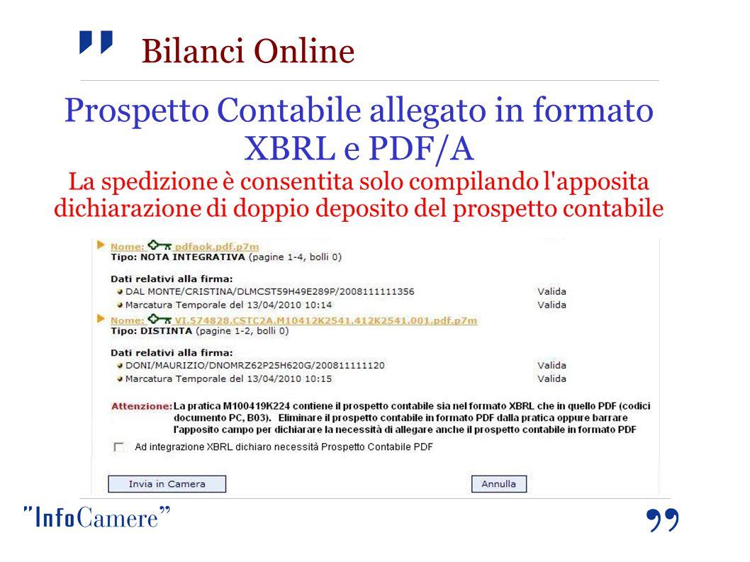 Prospetto Contabile allegato in formato XBRL e PDF/A La spedizione è consentita solo compilando l apposita dichiarazione di doppio deposito del prospetto contabile Bilanci Online