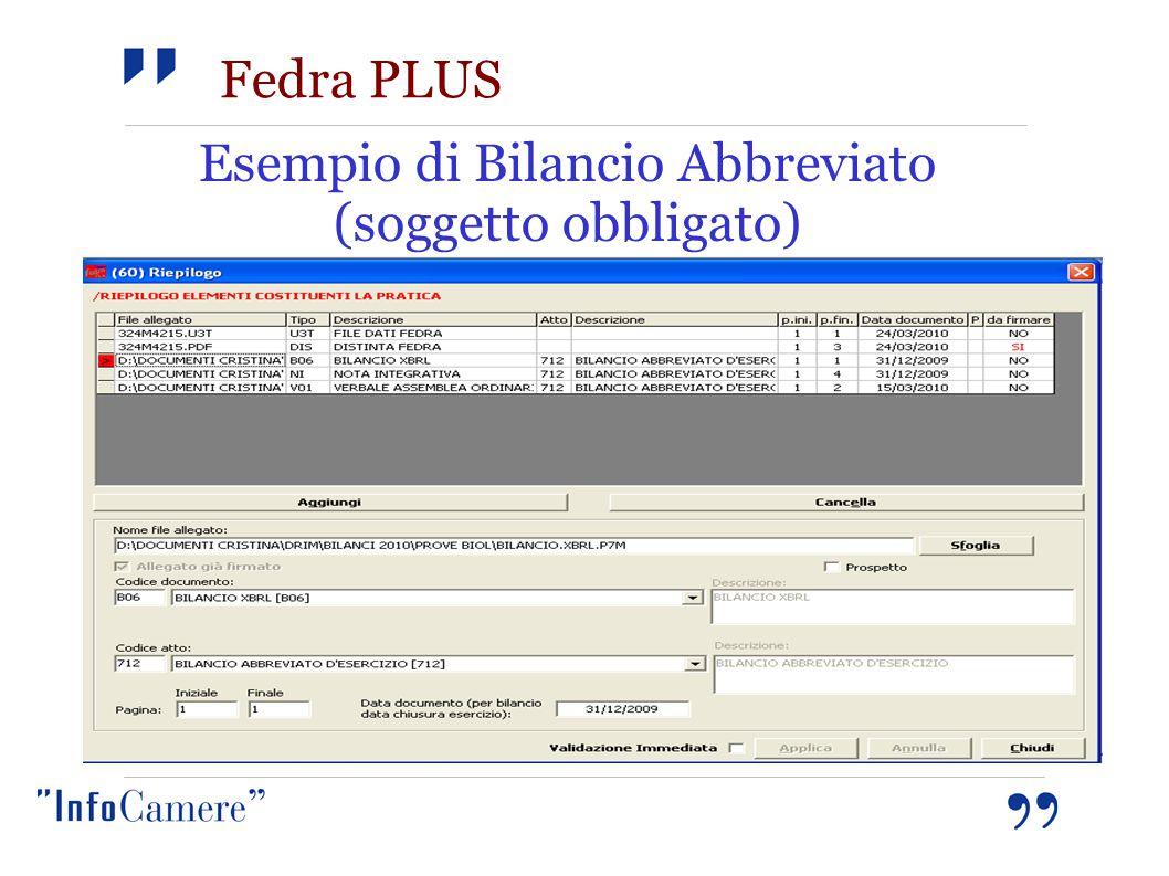 Fedra PLUS Esempio di Bilancio Abbreviato (soggetto obbligato)
