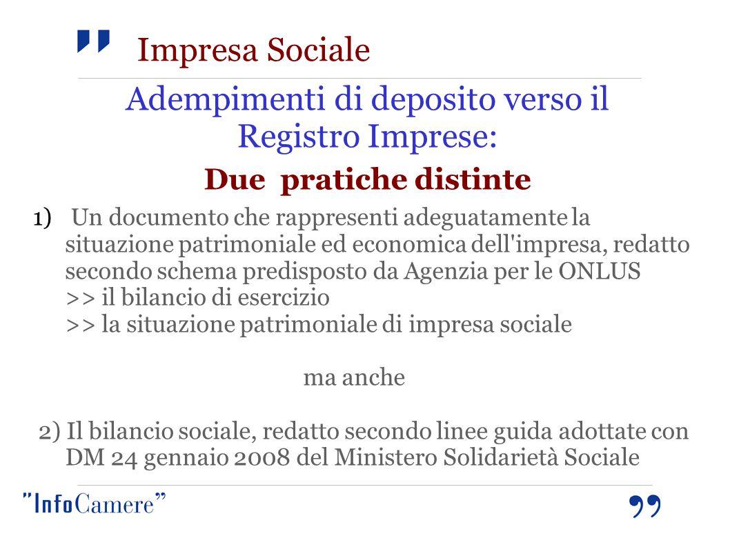 Impresa Sociale Adempimenti di deposito verso il Registro Imprese: Due pratiche distinte 1) Un documento che rappresenti adeguatamente la situazione p