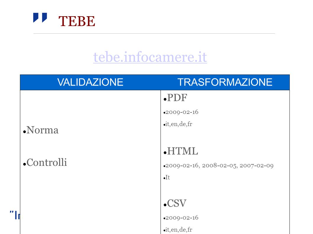 TEBE VALIDAZIONETRASFORMAZIONE Norma Controlli PDF 2009-02-16 it,en,de,fr HTML 2009-02-16, 2008-02-05, 2007-02-09 It CSV 2009-02-16 it,en,de,fr tebe.infocamere.it