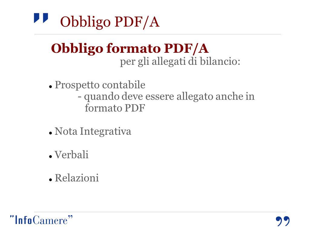 Obbligo PDF/A Obbligo formato PDF/A per gli allegati di bilancio: Prospetto contabile - quando deve essere allegato anche in formato PDF Nota Integrativa Verbali Relazioni
