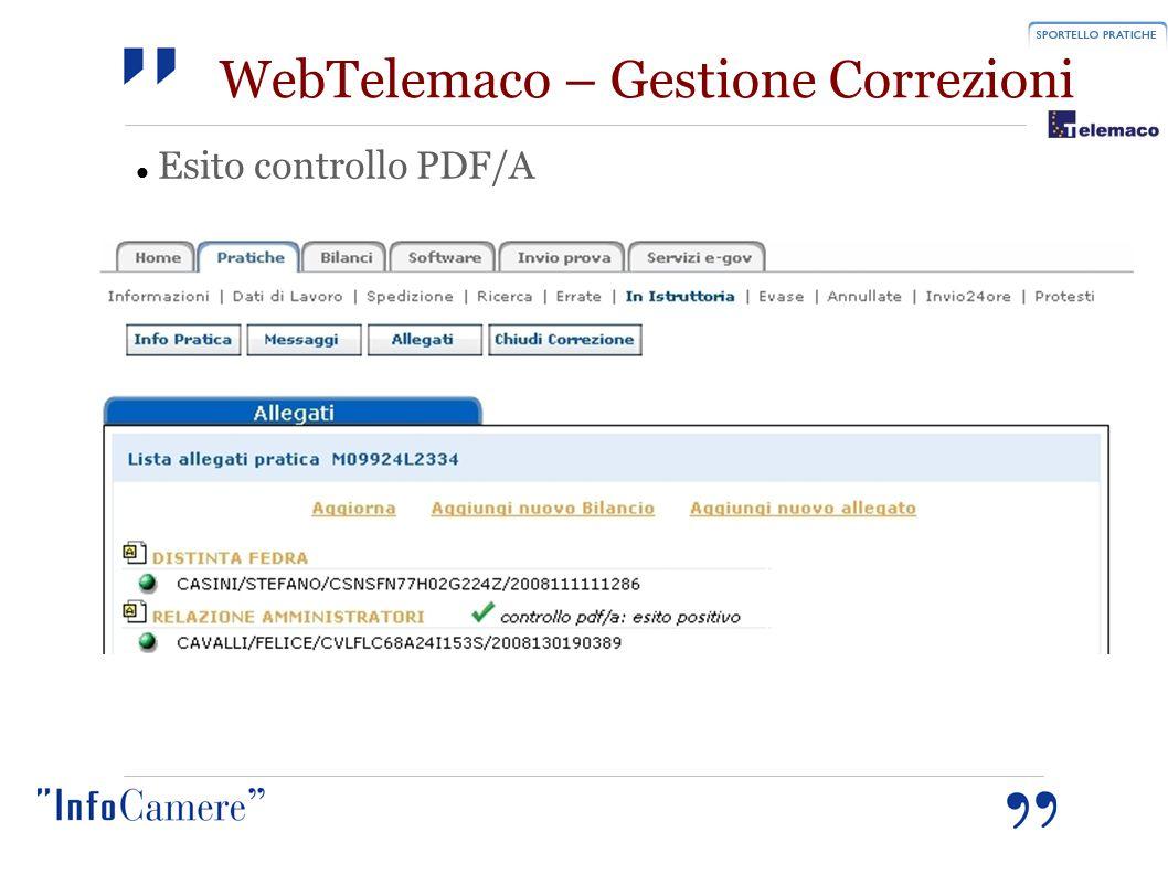 WebTelemaco – Gestione Correzioni Esito controllo PDF/A